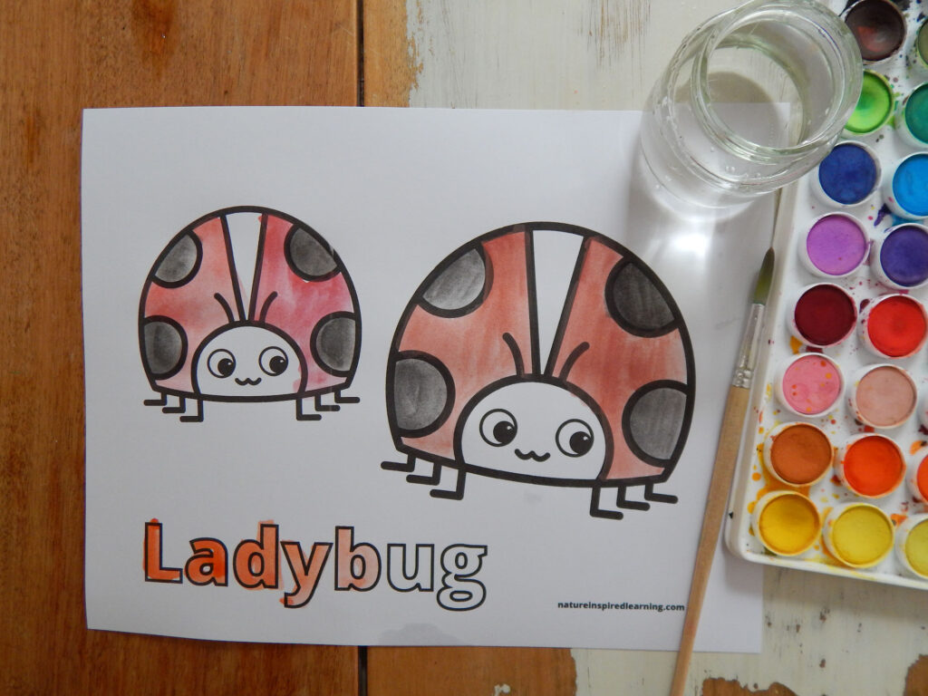 printed off ladybug coloring page on a table colored in using watercolor paint in red, black, and orange, water in a jar, paint brush, and paint set all on a table