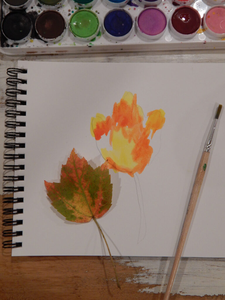 in progress watercolor fall maple leaf with a real maple leaf and a paint brush both on the paper watercolor paint set above on wooden table
