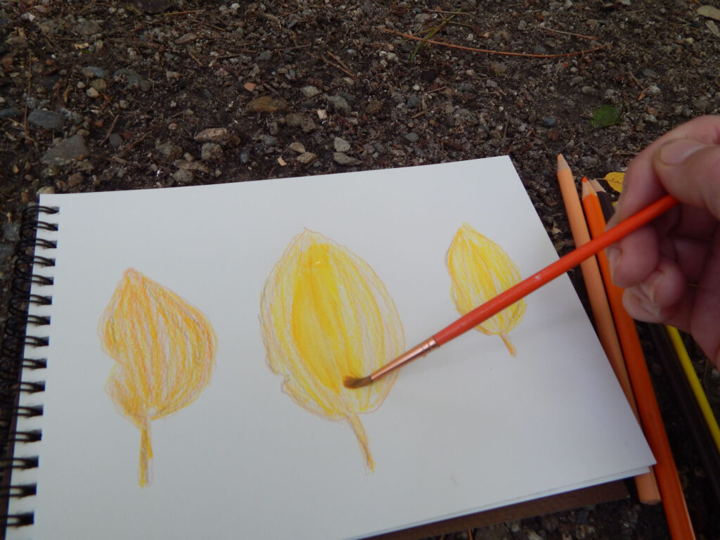 hand holding an orange paint brush making a watercolor fall leaf in yellow and orange on a blank notebook page outside on the rocky ground with four watercolor pencils to the side