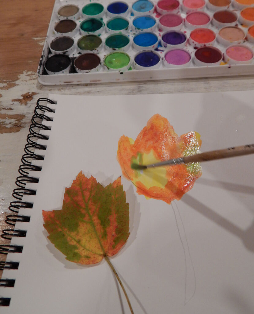paint brush adding green watercolor paint to a fall maple leaf painting real maple leaf on paper watercolor paint set above all on wooden table