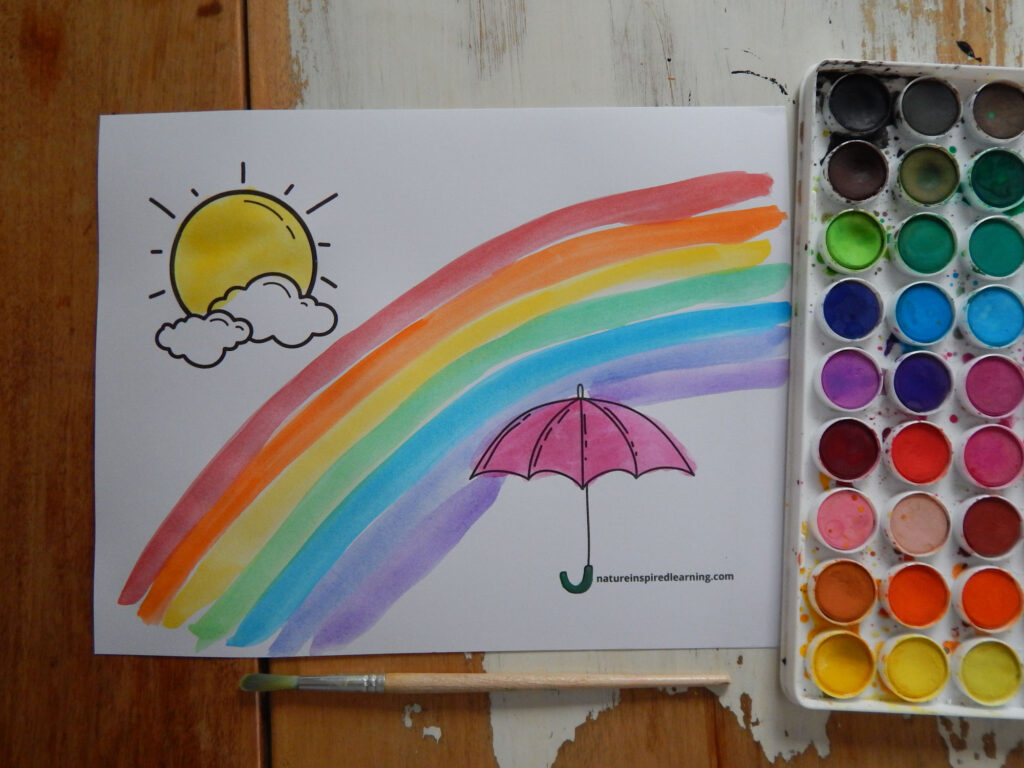 draw the rainbow with sun, clouds, and umbrella coloring page colors of the rainbow painted on the page paint brush, watercolor paint set in rainbow colors on a wooden table