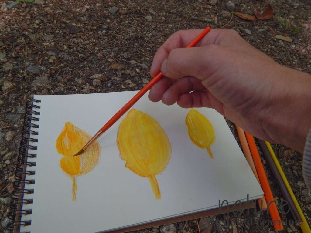 hand holding an orange paint brush painting watercolor fall leaves yellow and orange on a blank notebook page with four watercolor pencils on the rocky dirt