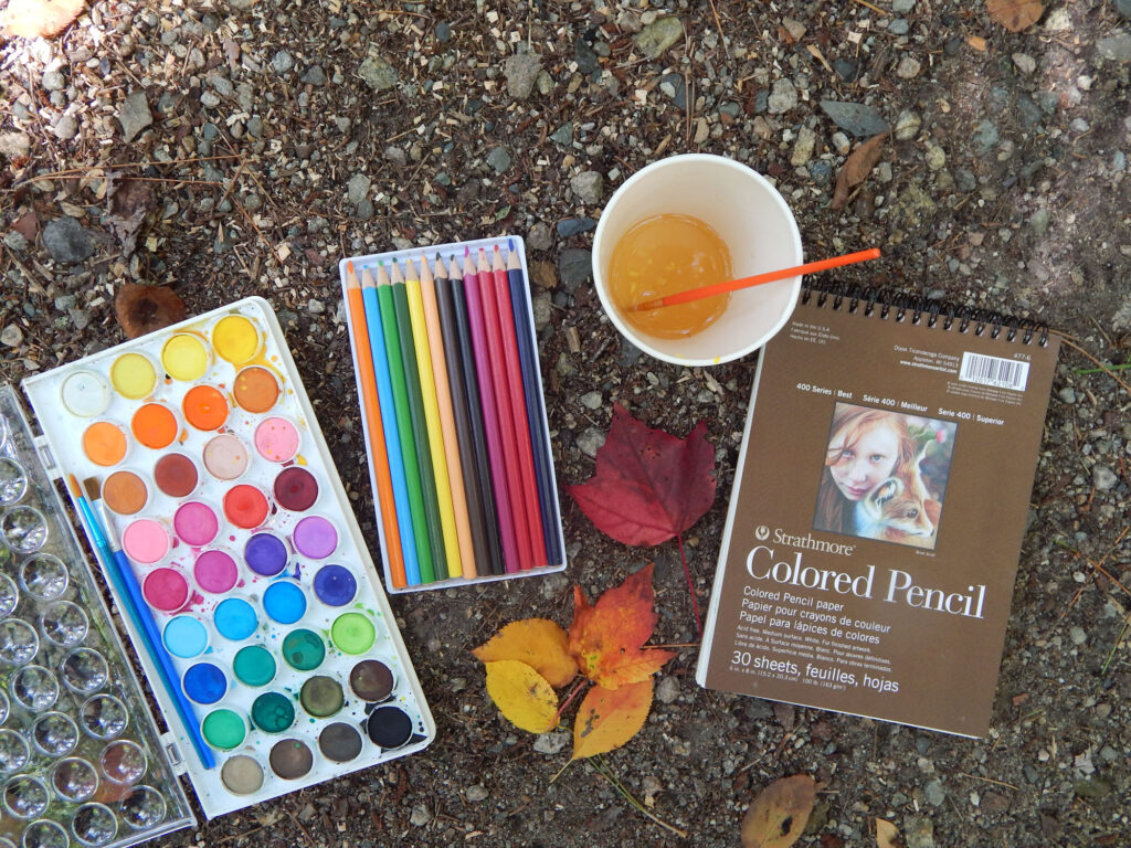 watercolor paint set with two blue paint brushes, set of watercolor pencils in a white tray, cup with orange tinted water and paint brush with a strathmore color pencil pad and a collection of fall leaves on the rocky dirt covered ground