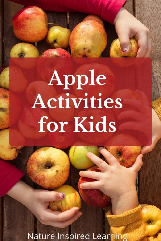 Apple Activities for Kid written in white over red two children's hands on a collection of yellow and red apples on a wooden table red and yellow shirts
