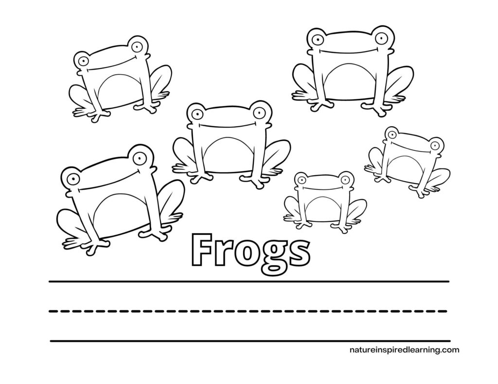 write the word frog coloring page with the word Frogs written in outline form with six smiling frogs